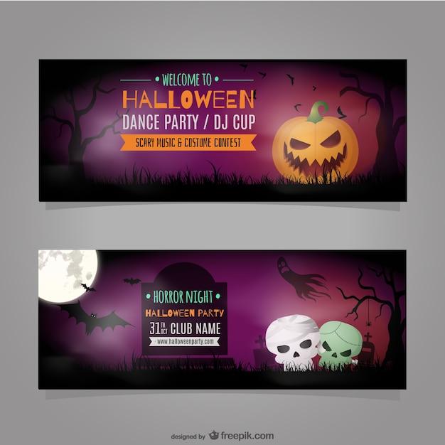 Halloween Party Banner Template Vector Vector