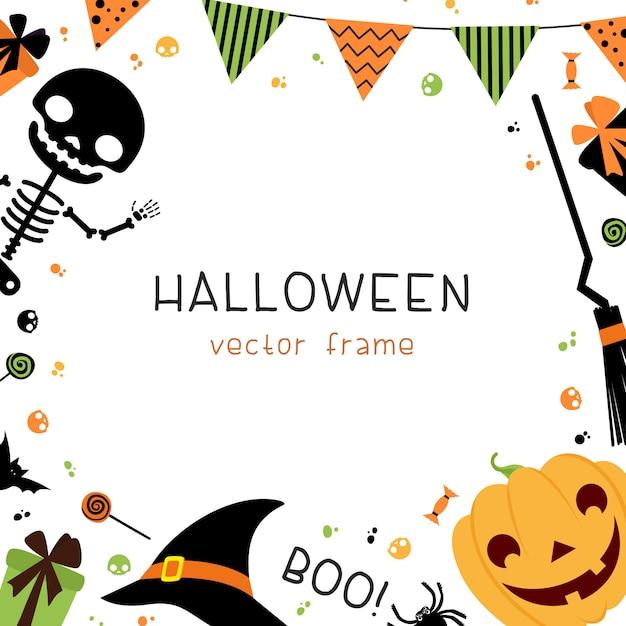 Halloween party decoraties vierkante frame met decoratieve met slingers, vlaggen, geschenken, hoed, bezem, skelet en snoep op witte achtergrond. Premium Vector
