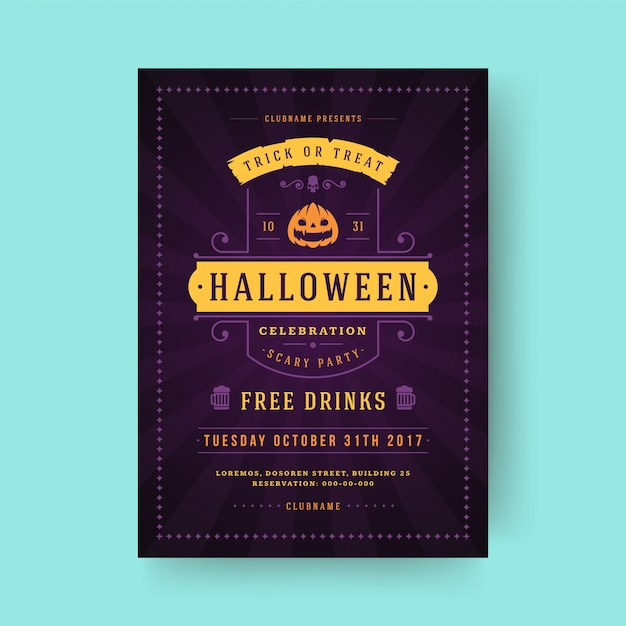 Halloween party flyer feest nacht poster of folder sjabloon Premium Vector