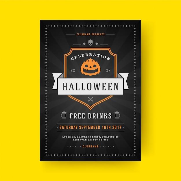 Halloween party flyer feest nacht poster of folder sjabloon Premium Vector
