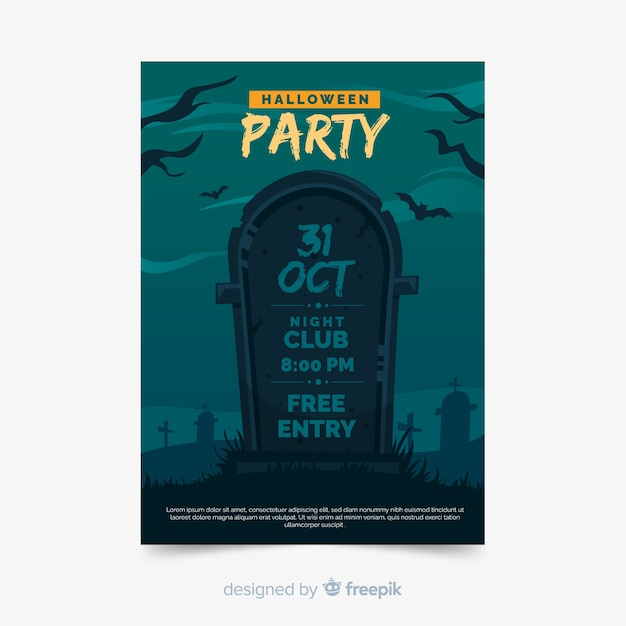 Halloween party poster sjabloon plat ontwerp Gratis Vector
