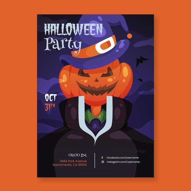 Halloween party poster sjabloon Gratis Vector