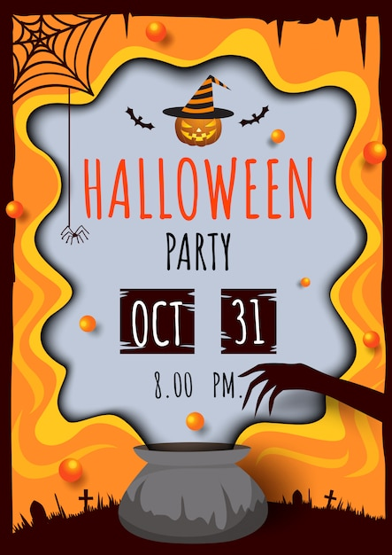 Halloween-party-pot Premium Vector
