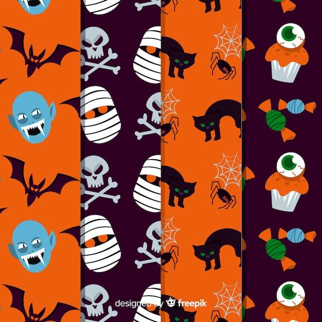 Halloween patroon collectie plat ontwerp Gratis Vector