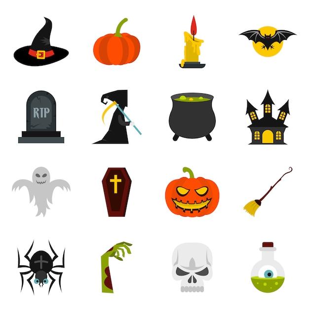 Halloween-pictogrammen instellen Premium Vector