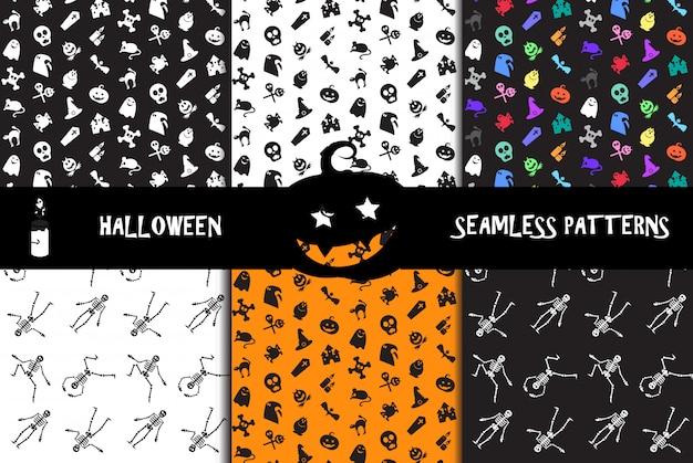 Halloween-pictogrammen naadloze patronen instellen Premium Vector