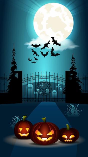 Halloween platte banner. pompoen bij begraafplaatspoort Premium Vector