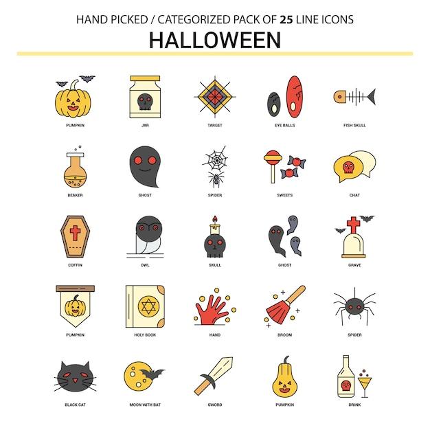 Halloween platte lijn pictogramserie Gratis Vector
