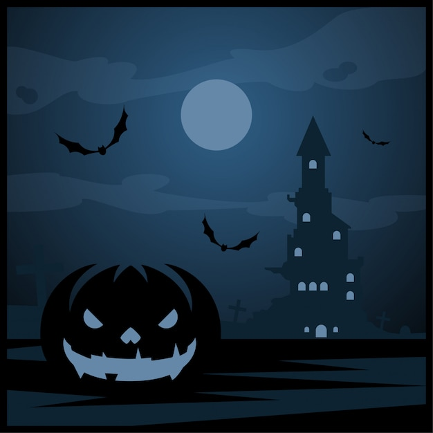 Halloween-pompoen en donker kasteel met blauwe maan op begraafplaatsachtergrond Premium Vector