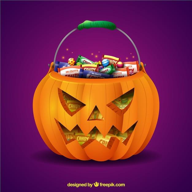 Pompoen En Halloween.Halloween Pompoen En Snoepjes Vector Gratis Download