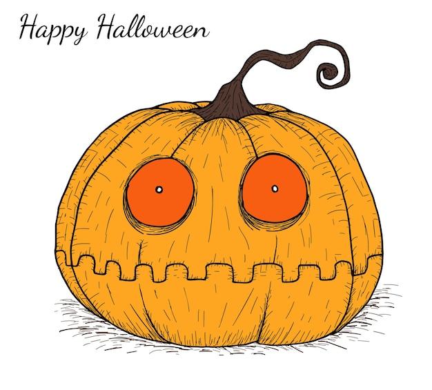 Halloween Tekeningen Pompoen.Halloween Pompoen Met De Hand Tekening Vector Premium