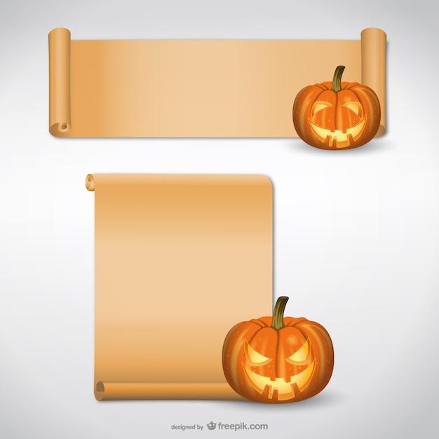 Halloween pompoen met papier scroll Gratis Vector