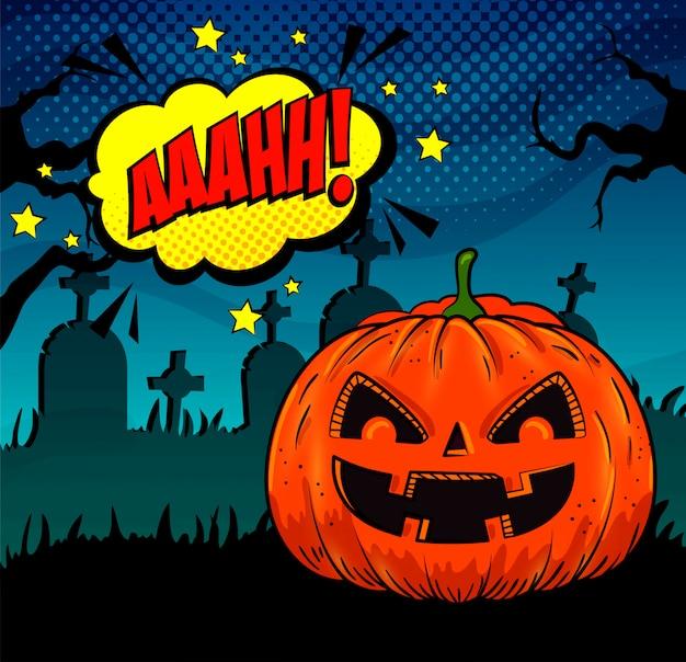 Halloween-pompoen op begraafplaats in pop-artstijl Gratis Vector