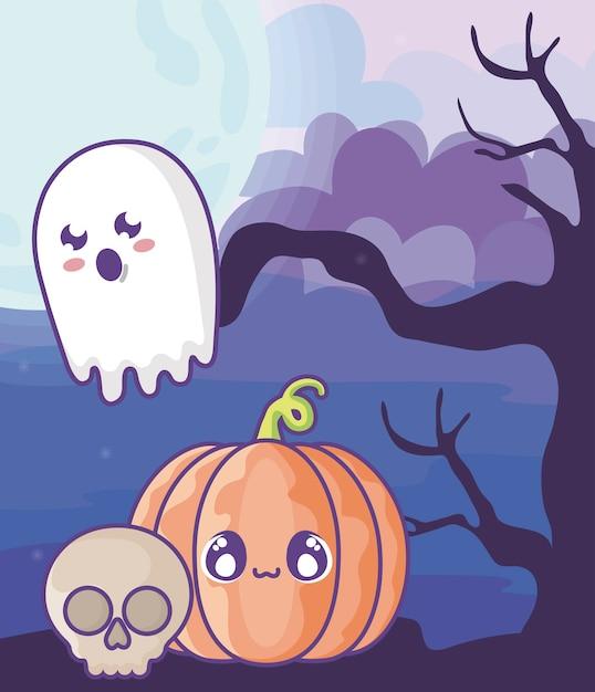 Halloween-pompoen op halloween-scène Premium Vector