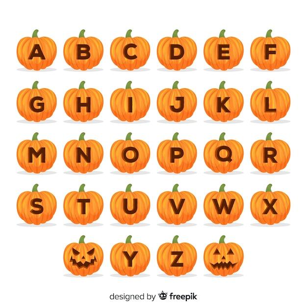 Halloween-pompoenalfabet Gratis Vector