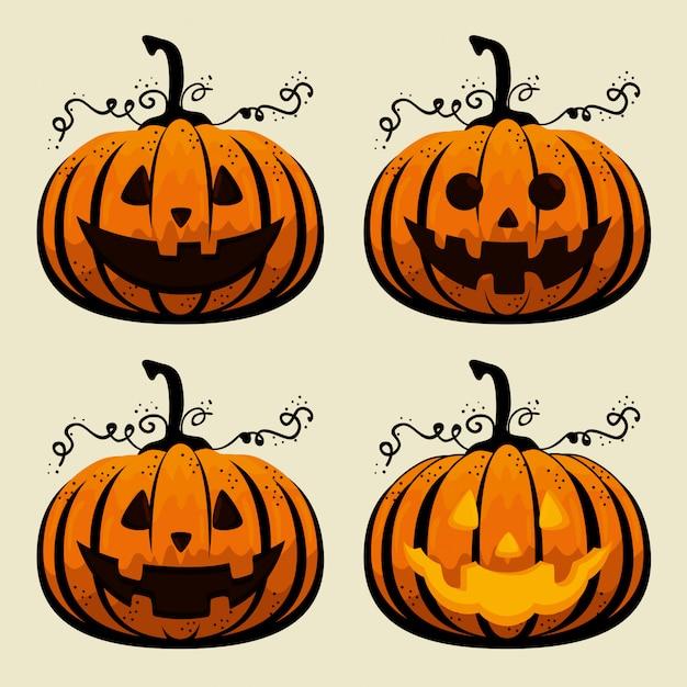 Halloween pompoenen collectie Gratis Vector
