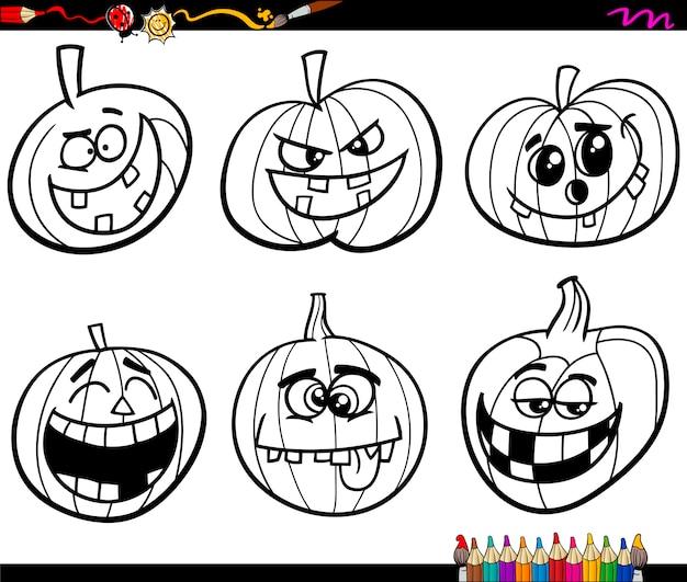 Kleurplaten Halloween Pompoen Vleermuis.Halloween Pompoenen Kleurplaat Vector Premium Download
