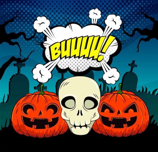 Halloween-pompoenen met schedel in pop-artstijl Gratis Vector