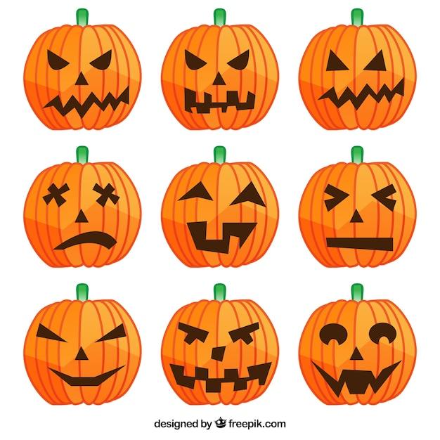 halloween pompoenen met verschillende gezichten  gratis