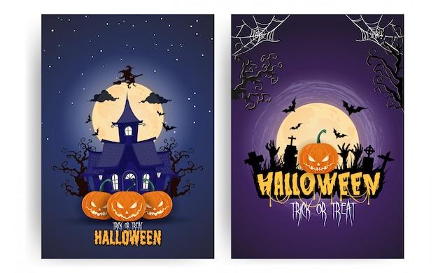 Halloween-pompoenen onder de reeks van de maanlichtaffiche Premium Vector