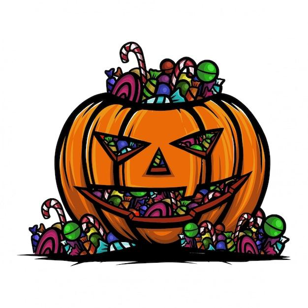 Halloween-pompoenhoogtepunt van suikergoedlolly en chocolade. Premium Vector