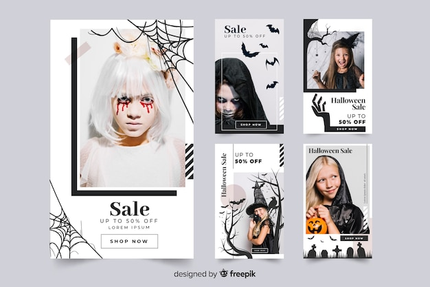 Halloween-postverzameling aankleden Gratis Vector