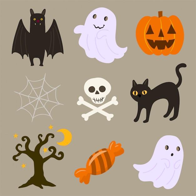 Halloween-reeks verschillende elementen Premium Vector
