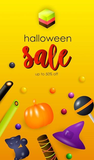 Halloween sale-letters met jelly-snoepjes Gratis Vector