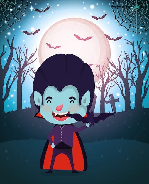 Halloween-scène met dracula van het jongenskostuum Premium Vector
