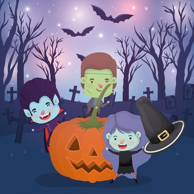 Halloween-scène met kinderen gekostumeerd op de begraafplaats Premium Vector