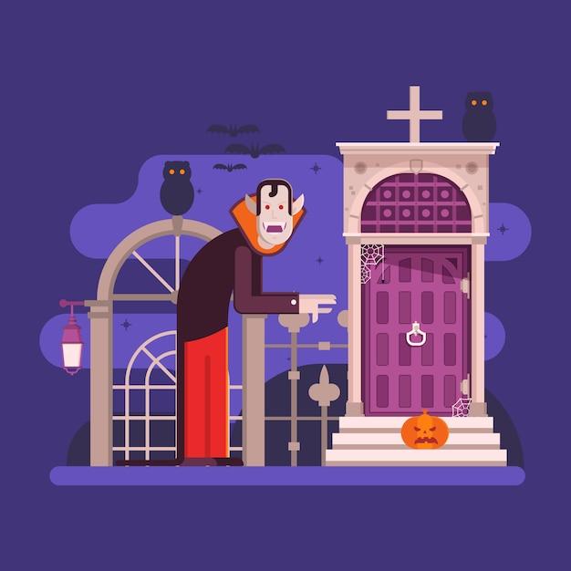Halloween-scènes met oud spookhuis, spook en heks Premium Vector