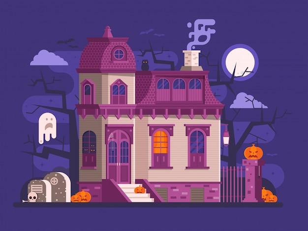 Halloween-scènes met oud spookhuis Premium Vector