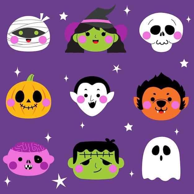 Halloween schattig monster avatar set Premium Vector