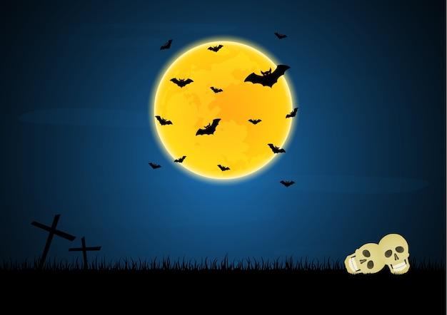 Halloween Kruis.Halloween Schedel Kruis Maan Vleermuis Vector Premium