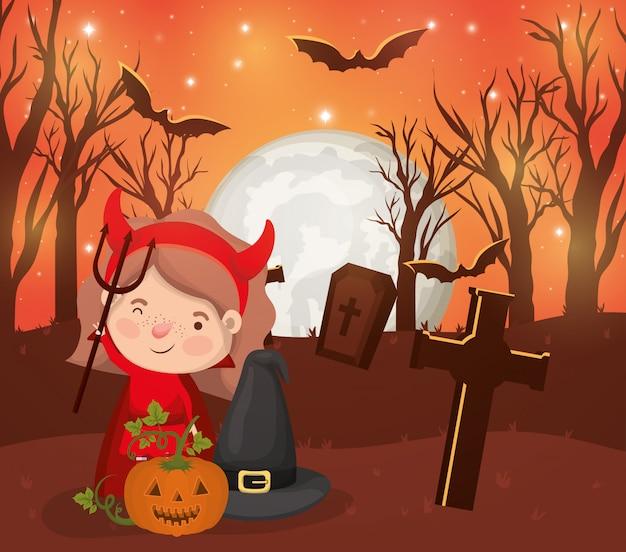 Halloween-seizoenscène met de duivel van het meisjeskostuum Premium Vector