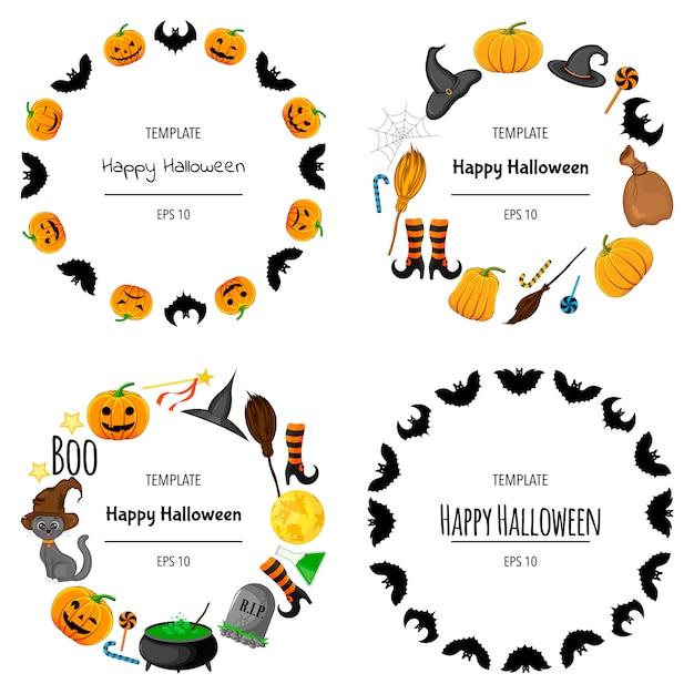 Halloween set frames voor uw tekst met traditionele attributen. cartoon stijl. illustratie. Premium Vector