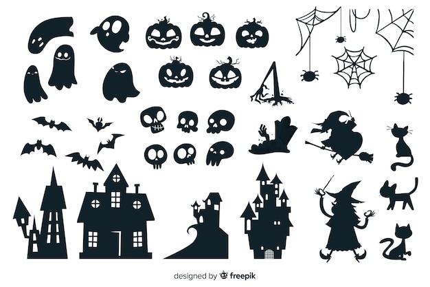 Halloween silhouet collectie Gratis Vector