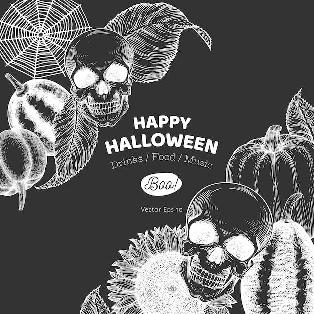 Halloween sjabloon. hand getekende illustraties op krijtbord. Premium Vector