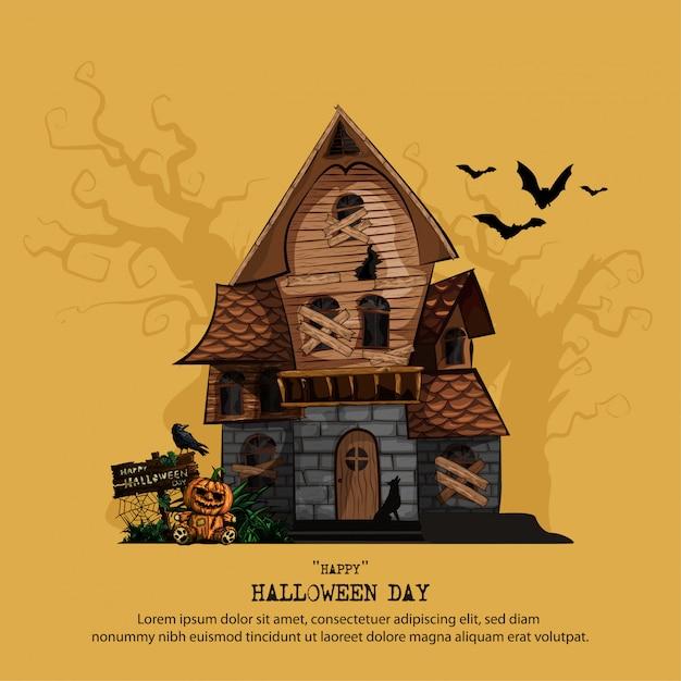 Halloween-sjabloon met spookhuis Premium Vector