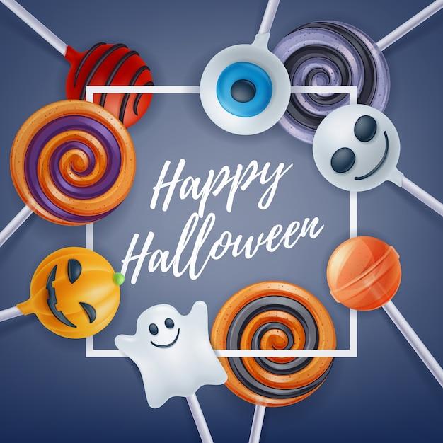 Halloween snoep kleurrijke partij achtergrond. Premium Vector