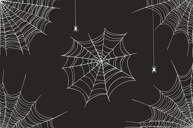 Halloween spinneweb achtergrond Premium Vector