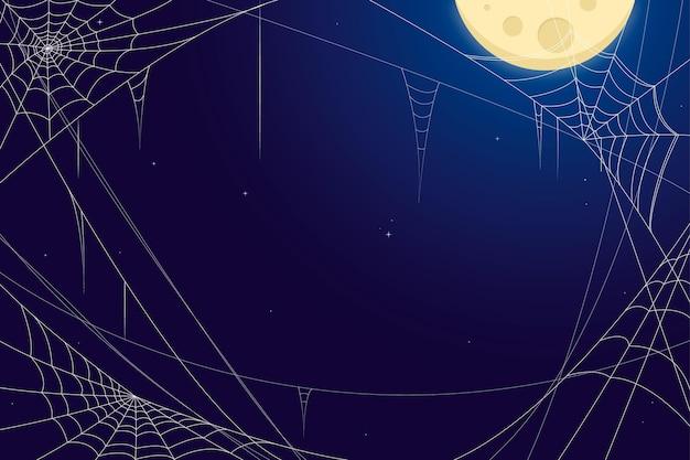 Halloween spinneweb achtergrond Gratis Vector