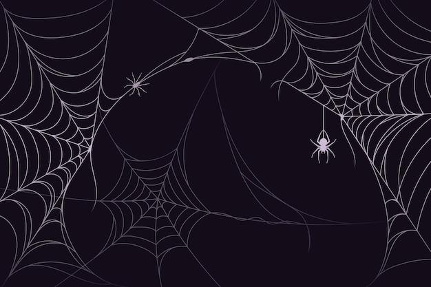 Halloween-spinneweb achtergrondthema Gratis Vector