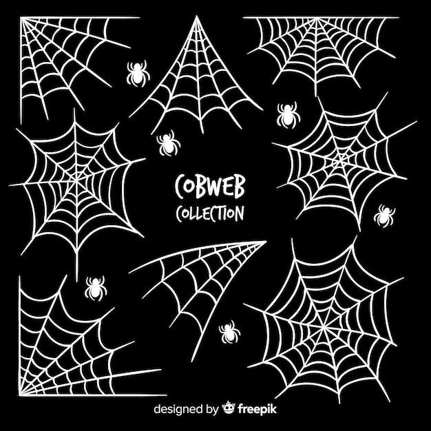 Halloween spinneweb collectie Gratis Vector
