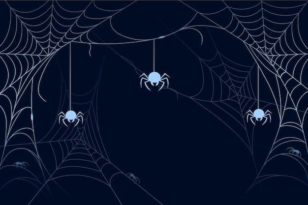 Halloween-spinnewebachtergrond cocnept Gratis Vector