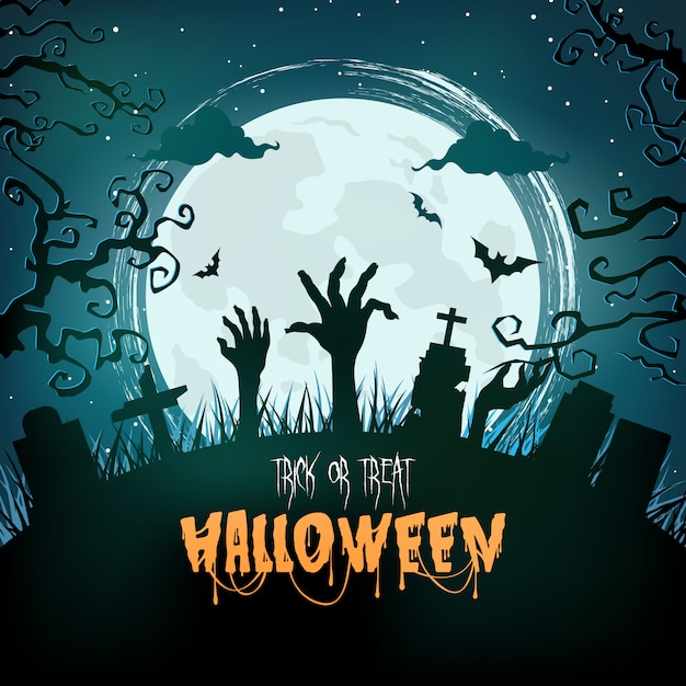 Halloween spooky forest at night Premium Vector