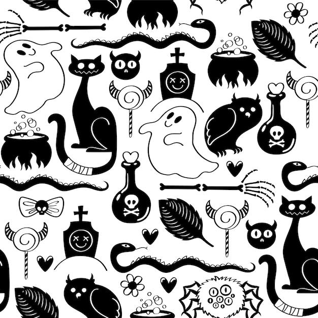 Halloween symbolen naadloze patroon Premium Vector