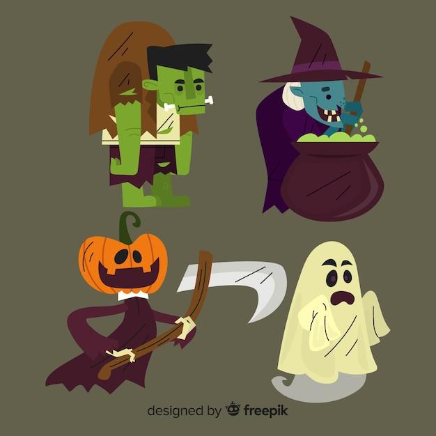 Halloween-tekencollectie op plat ontwerp Gratis Vector