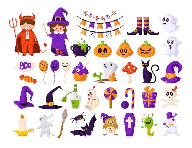 Halloween-tekenfilmkinderen in duivels- en heksenkostuums, pompoen, spook, monster, vleermuis, voodoo-pop Premium Vector
