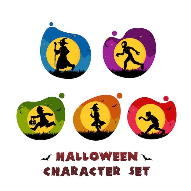 Halloween tekenset logo sjabloon Premium Vector